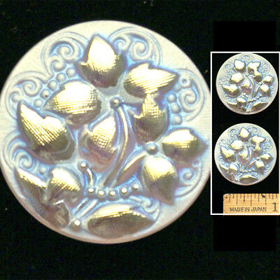 27mm Vintage Czech Glass Matte White AB IVY Leaf Flower BRIDAL Wedding Buttons 2