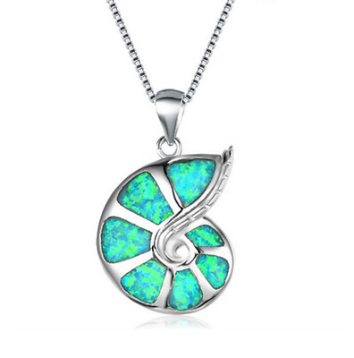 d2486a2069 Fashion Lady Silver snails green Opal Pendant Necklace Wedding Jewelry Gift
