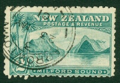 SG 269 New Zealand 2/- blue-green. Very fine used CAT £55