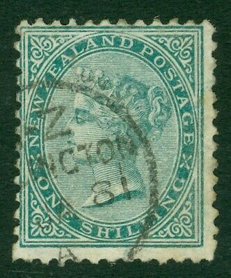 SG 184 New Zealand 1/- green. Very fine used CAT £50