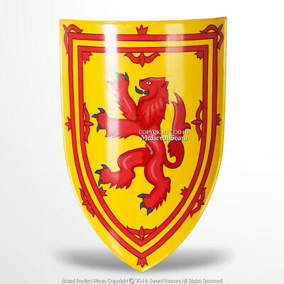 Medieval Heater Shield Rampant Lion 18G Steel with Grip LARP Renaissance Cosplay