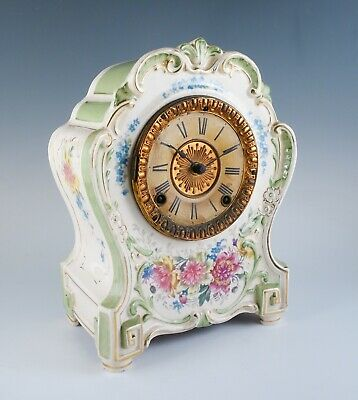 Antique c1900 Ansonia Royal Bonn La Hay Porcelain Floral Mantel Clock to Restore