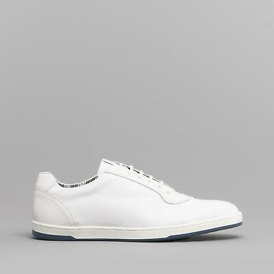 Base London HUSTLE Mens Classic Casual Lace Up Leather Sports Trainers White