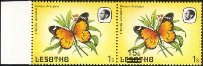 Lesotho 1984 Butterflies 15s on 1s surcharge MISREGISTER ERROR 2 x 1v pr  b2391q