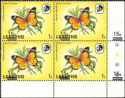 Lesotho 1984 Butterflies 15s on 1s surcharge MISREGISTER ERROR 4 x 1v blk b2391t
