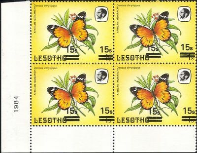 Lesotho 1984 Butterflies 15s on 1s surcharge MISREGISTER ERROR 4 x 1v blk b2391u