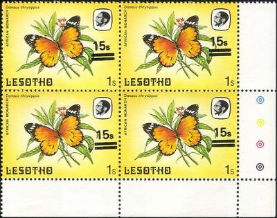 Lesotho 1984 Butterflies 15s on 1s surcharge MISREGISTER ERROR 4 x 1v blk b2391g