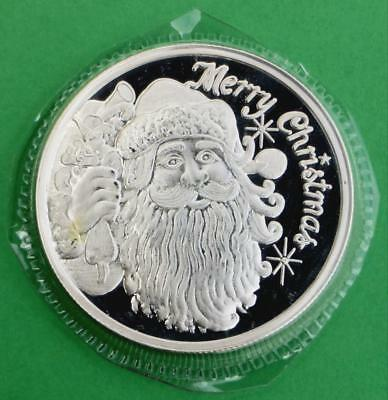 Merry Christmas Holiday Santa 1 Troy Ounce .999 Fine Silver Round, Saint Nick