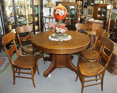Antique Set of Six Matching Wood Dining Chairs - Solid Seats