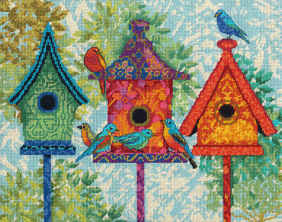 Needlepoint Kit ~ Dimensions Colorful Birdhouses #71-20088