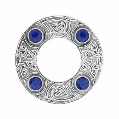 Art Pewter Celtic Knot Dancers Plaid Brooch with Blue Stone 249 (D/BLUE)