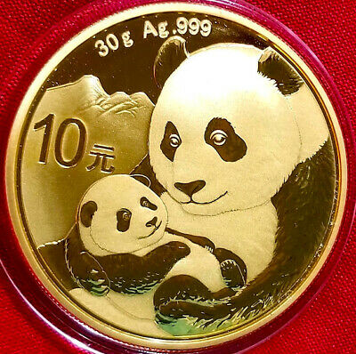 NEW  2019 Chinese Panda Coin , 30g .999 pure Silver , 24k Gold Gilded F