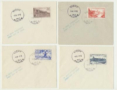 FRANCE 1947 SCARCE UPU SET ON MATCHED COVERS(4) Sc#581-4 (SEE BELOW)
