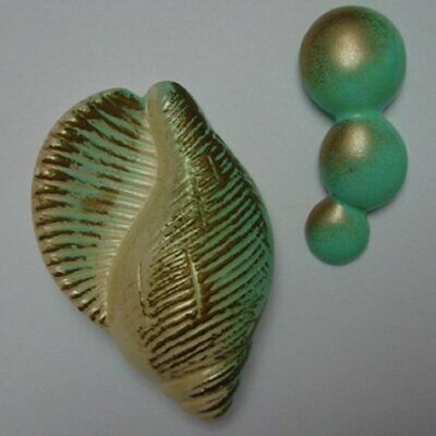 1967 Vintage Chalkware Shell Wall Plaque Set w Bubbles for Mermaid Decor