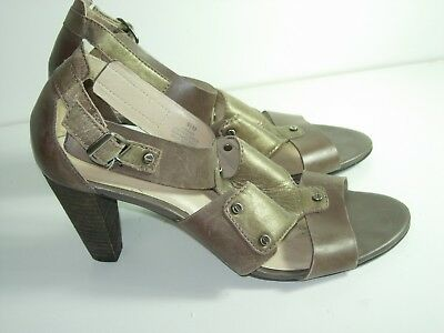 cce258524 Womens Brown Bronze T Strap Gladiator Sandals Career Heels Shoes Size 8.5 M