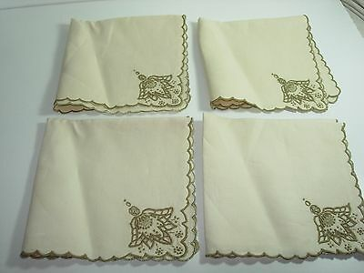 "8 Vintage Madeira Linen 14"" Fancy Napkins Cutwork Taupe ivory Embroidered Lace"