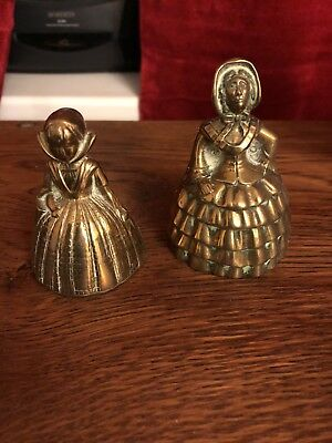 2x Vintage Brass Lady Bells (one rings one not ) please images.