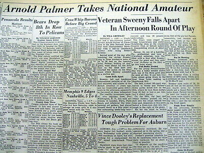 4 1954 newspapers Young ARNOLD PALMER wins THE US AMATEUR OPEN GOLF CHAMPIONSHIP