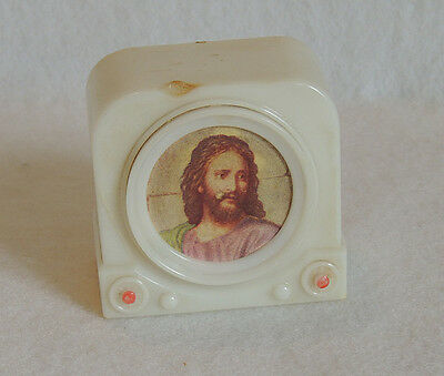 Kitschy Vtg Mid Century Plastic Television TV Bank With Jesus Screen Picture
