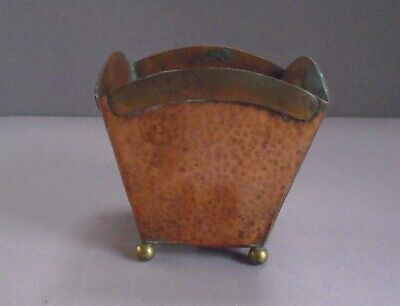 """Small Hand Hammered Art & Crafts Mixed Metal Vase marked """"Hand Made by Robert"""""""