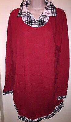 """OH BABY by Motherhood Maternity Mock Layer Scoopneck Sweater """"SCARLET"""" Plaid XL"""