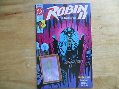 1991 Dc Robin Ii The Jokers Wild # 1C Robin Hologram Signed Tom Lyle With Poa