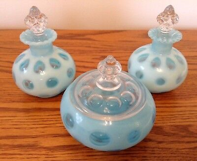 Vintage Fenton Art Glass Blue Opalescent Coin Dot Powder Vanity Perfume Set