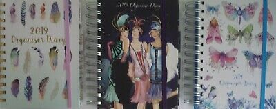 Art Deco, Feathers, Butterflies Hardback Spiral 2019 Week 2 View Organiser Diary