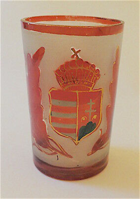 19 C. Bohemian Hand Painted Glass  Beaker Hungarian Coat Of Arms