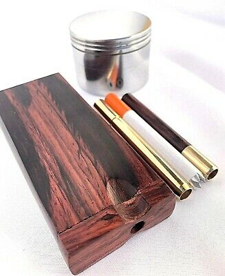 Rosewood w/ Brass Dugout Set & 3 Hitters, Dug Out Pipe & Metal Grinder by Omnya