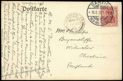 Danzig 1910 Germany to Winslow Cheshire England Manchester Cover 83639