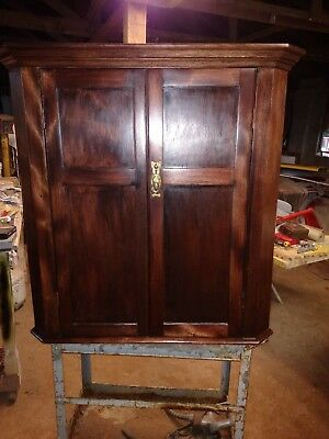 BEAUTIFUL ANTIQUE MAHOGANY c1800'S HANGING WALL CORNER CABINET-READY TO USE