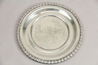 Victorian Child's Plate Etched Dog Children Quadruple Plate Homan Beautiful