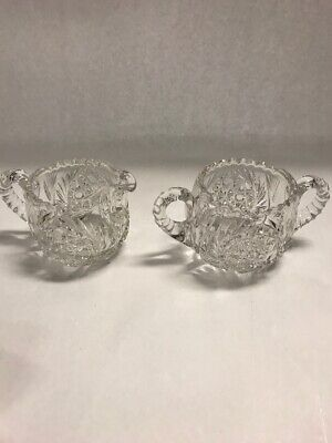 Creamer Sugar 2 piece  cut glass CRYSTAL saw tooth VINTAGE star