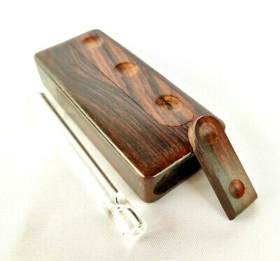 Rosewood Dugout w Glass One Hitter Pipe, Slide Lid Stash Box and Tobacco Smoking