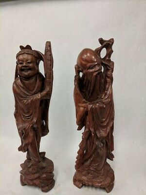 Lot Of 2 Vintage Hand Carved Boxwood Asian Chinese Figurines Traditional Robes