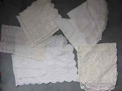 Lot of 9 pc Vintage White Ecru Table Runners Doilies Embroider Round Tablecloth