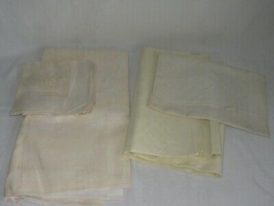 Lot of 3 Vintage Pale Yellow Linen ? Damask Tablecloths Napkins