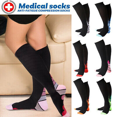 Medical Compression Socks Support Stockings Travel Flight Socks High Calf Knee A