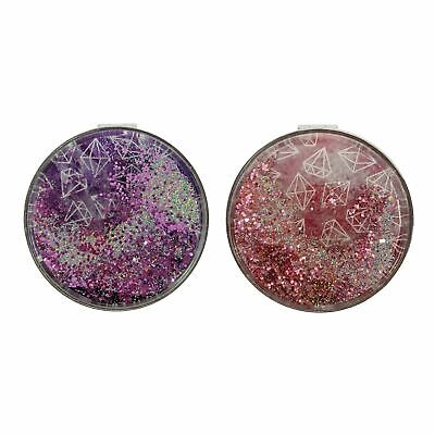 Gemporium Glitter Compact Pocket 2X Magnifying Dual Make-Up Mirror Travel Gift