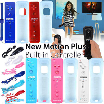 Motion Plus Remote Nunchuck Controller + Silicone case for Nintendo Wii & Wii U