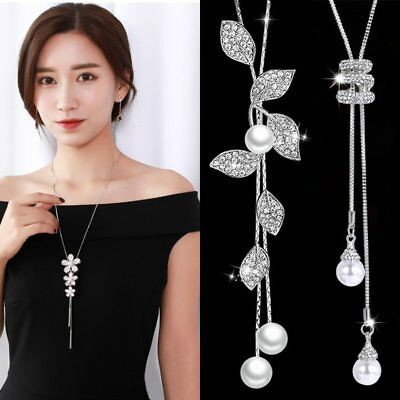 Women Pearl Crystal Leaves Flower Multilayer Pendant Necklace Sweater Long Chain