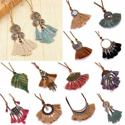Vintage Women's Boho Long Tassel Leather Rope Sweater Chain Pendant Necklace Hot