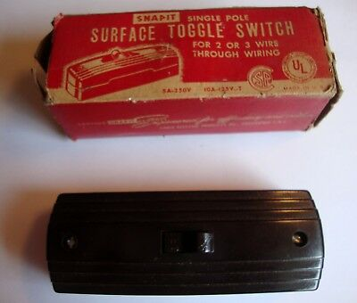Vintage Snap-It Single Pole Surface Toggle Switch -Great for Steampunk Project!