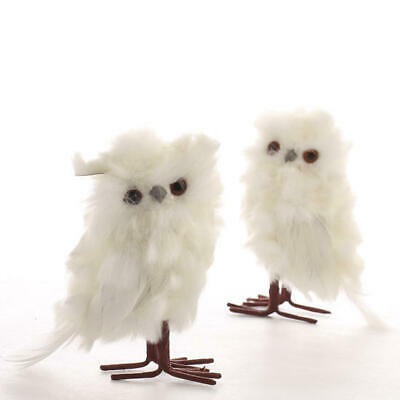 Darling Little Pair of Small White Fluffy Owls for Commercial Displays