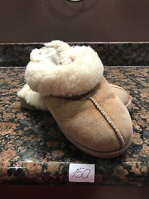 340ed4adf93 CABELA'S SIZE 7 Brown Shearling Slippers Suede Leather Sherpa Sheep Lined  Woman