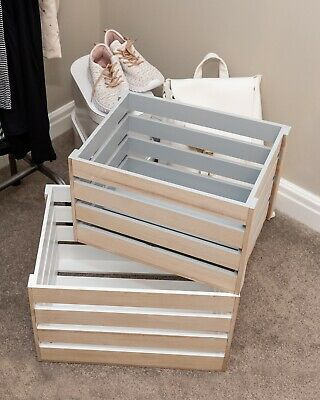 Vintage Wooden Crates Grey White Shabby Chic Storage Boxes Slatted Apple Display