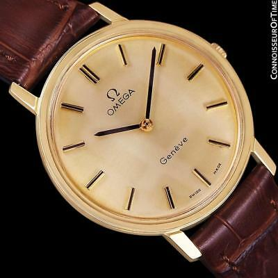 1975 OMEGA GENEVE Vintage Mens 18K Gold Plated Watch - Mint with Warranty