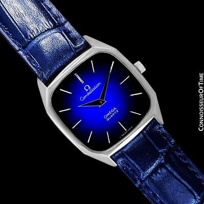 1977 OMEGA CONSTELLATION Rare Mens Quartz Blue Dial SS Watch - Mint w/ Warranty