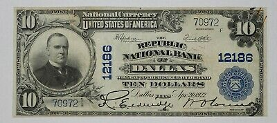 1902 Pb $10 Republic National Banknote Currency Dallas Texas Very Fine (972)